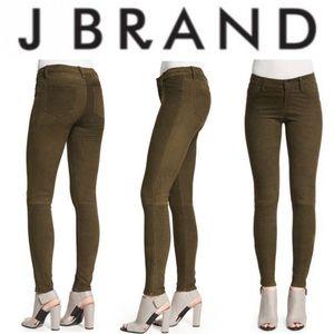 J Brand Suede Super Skinny Pants in Olive